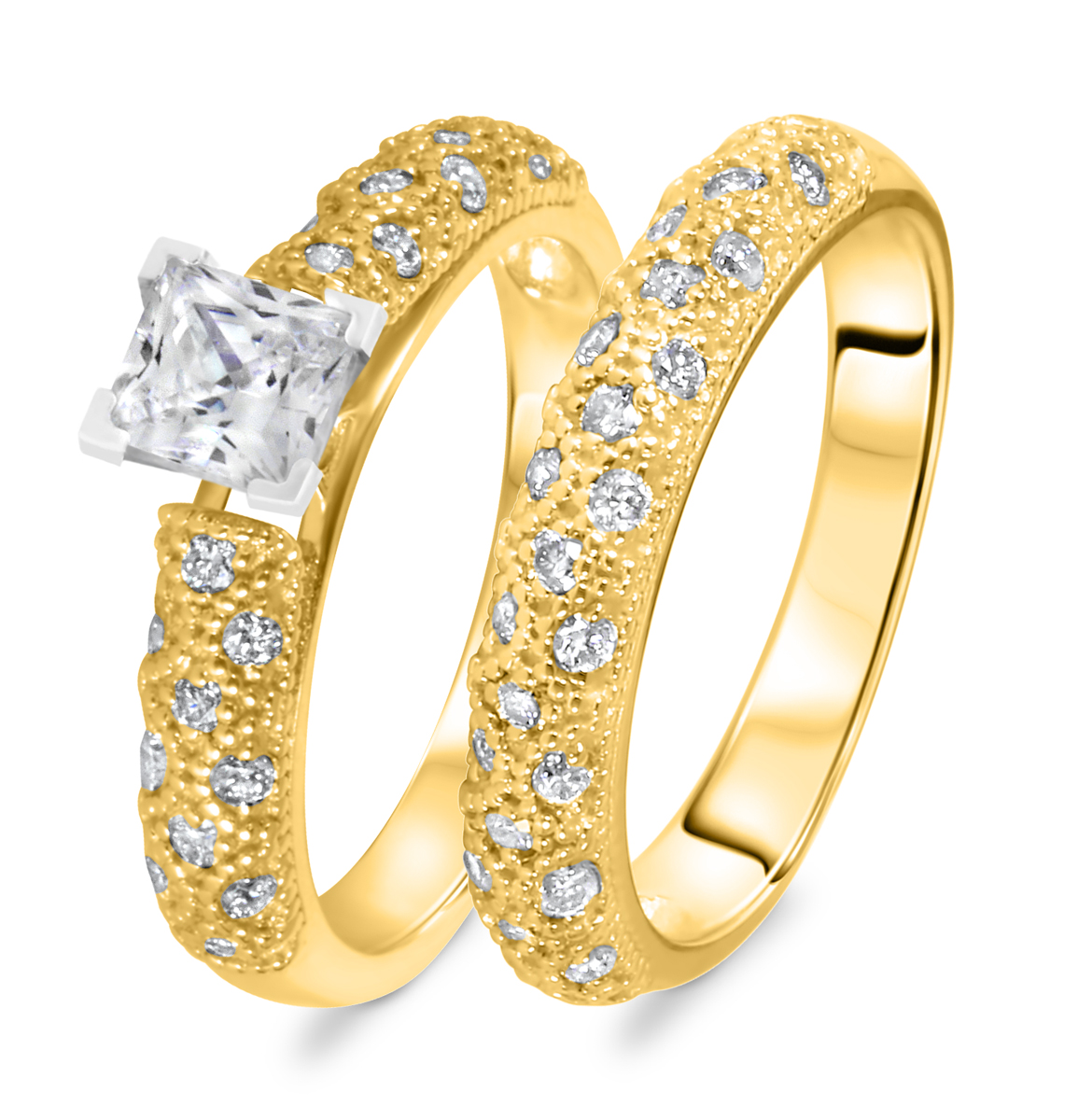 1 1/5 CT. T.W. Diamond Women's Bridal Wedding Ring Set 14K Yellow Gold