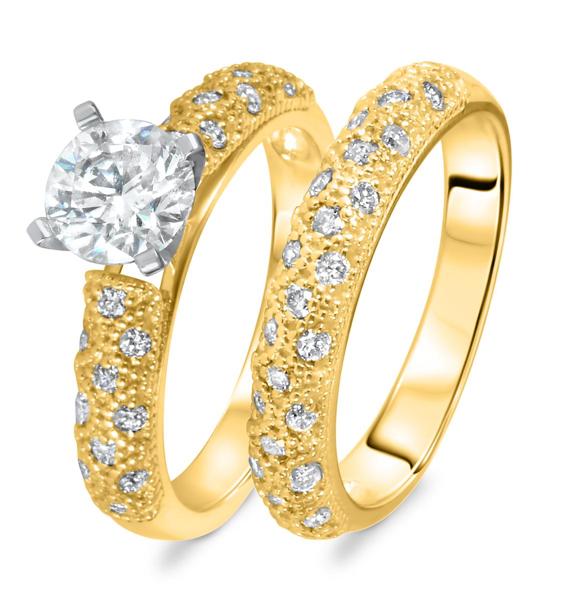 1 1/2 CT. T.W. Diamond Women's Bridal Wedding Ring Set 10K Yellow Gold