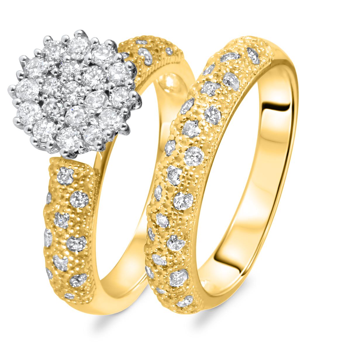 7/8 CT. T.W. Round Cut Diamond Ladies Bridal Wedding Ring Set 10K Yellow Gold