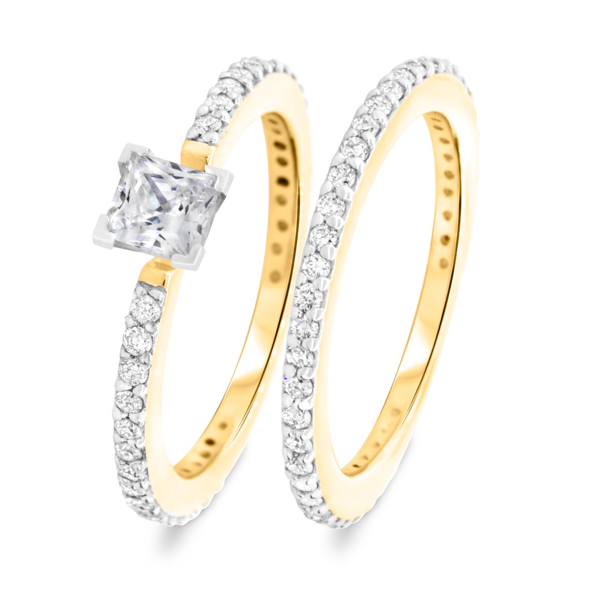 1 1/7 CT. T.W. Diamond Women's Bridal Wedding Ring Set 14K Yellow Gold