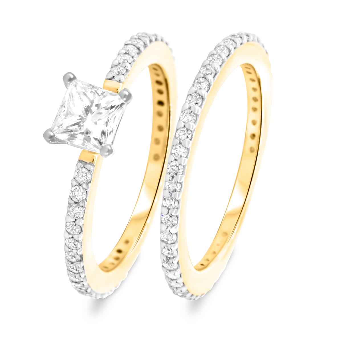 1 2/3 CT. T.W. Diamond Women's Bridal Wedding Ring Set 14K Yellow Gold