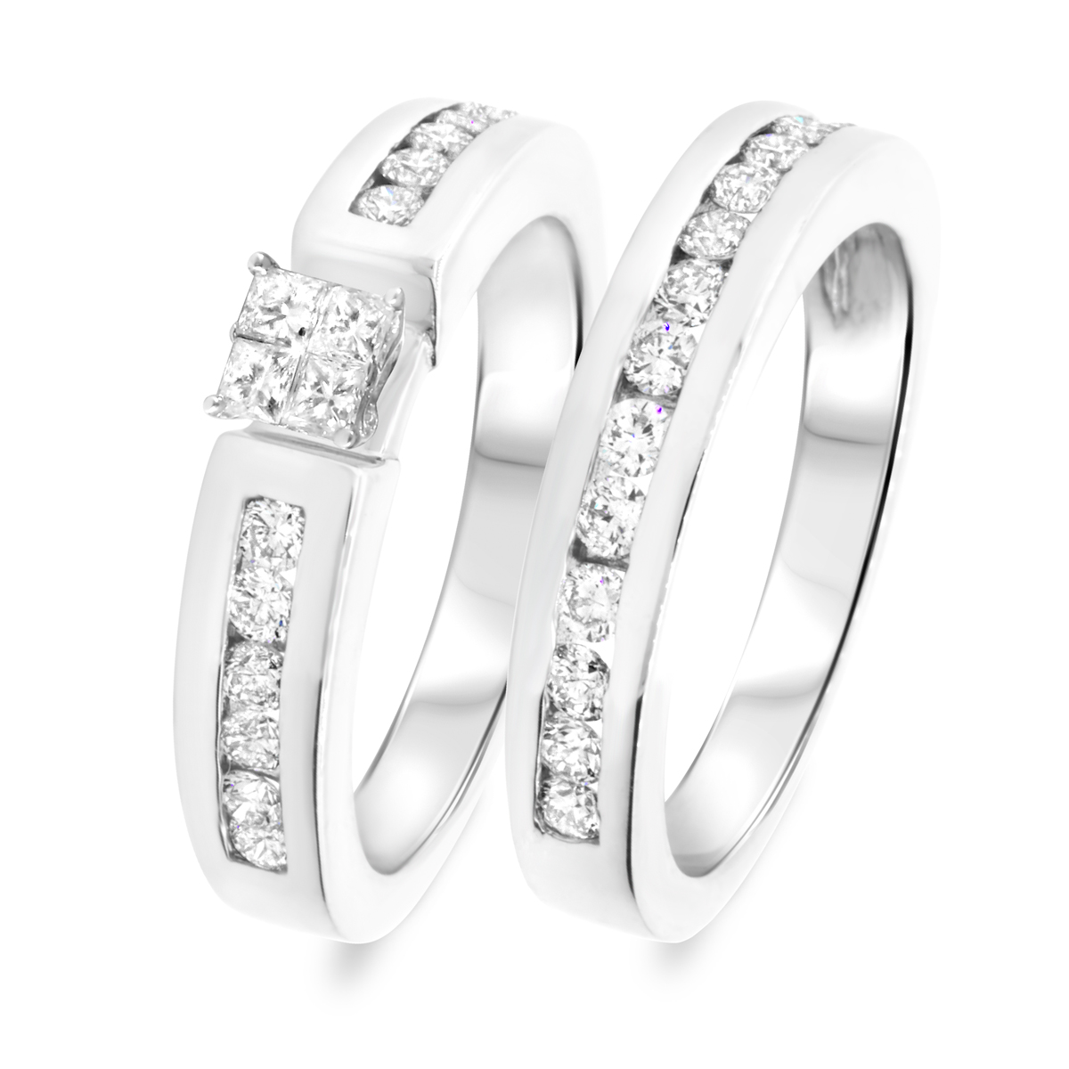 1 1/7 CT. T.W. Diamond Women's Bridal Wedding Ring Set 10K White Gold