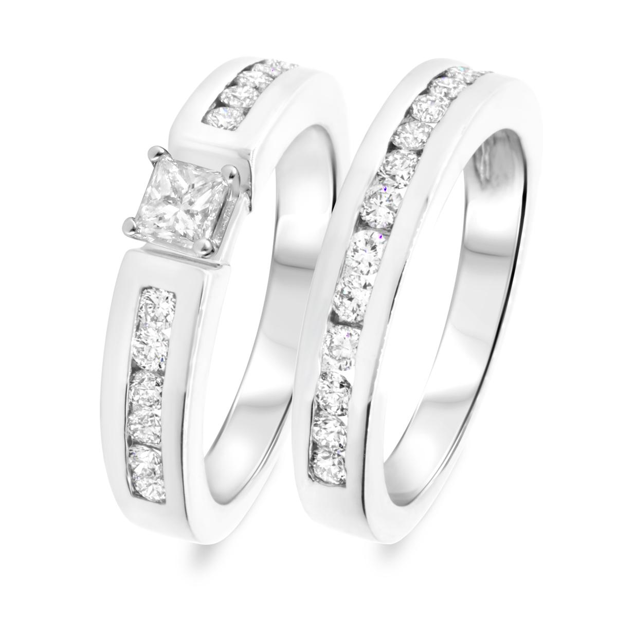 1 1/4 CT. T.W. Diamond Women's Bridal Wedding Ring Set 10K White Gold