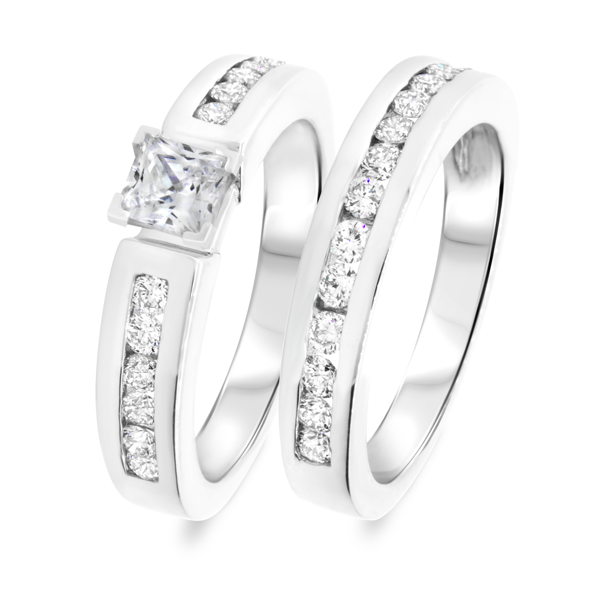 1 3/8 CT. T.W. Diamond Women's Bridal Wedding Ring Set 10K White Gold