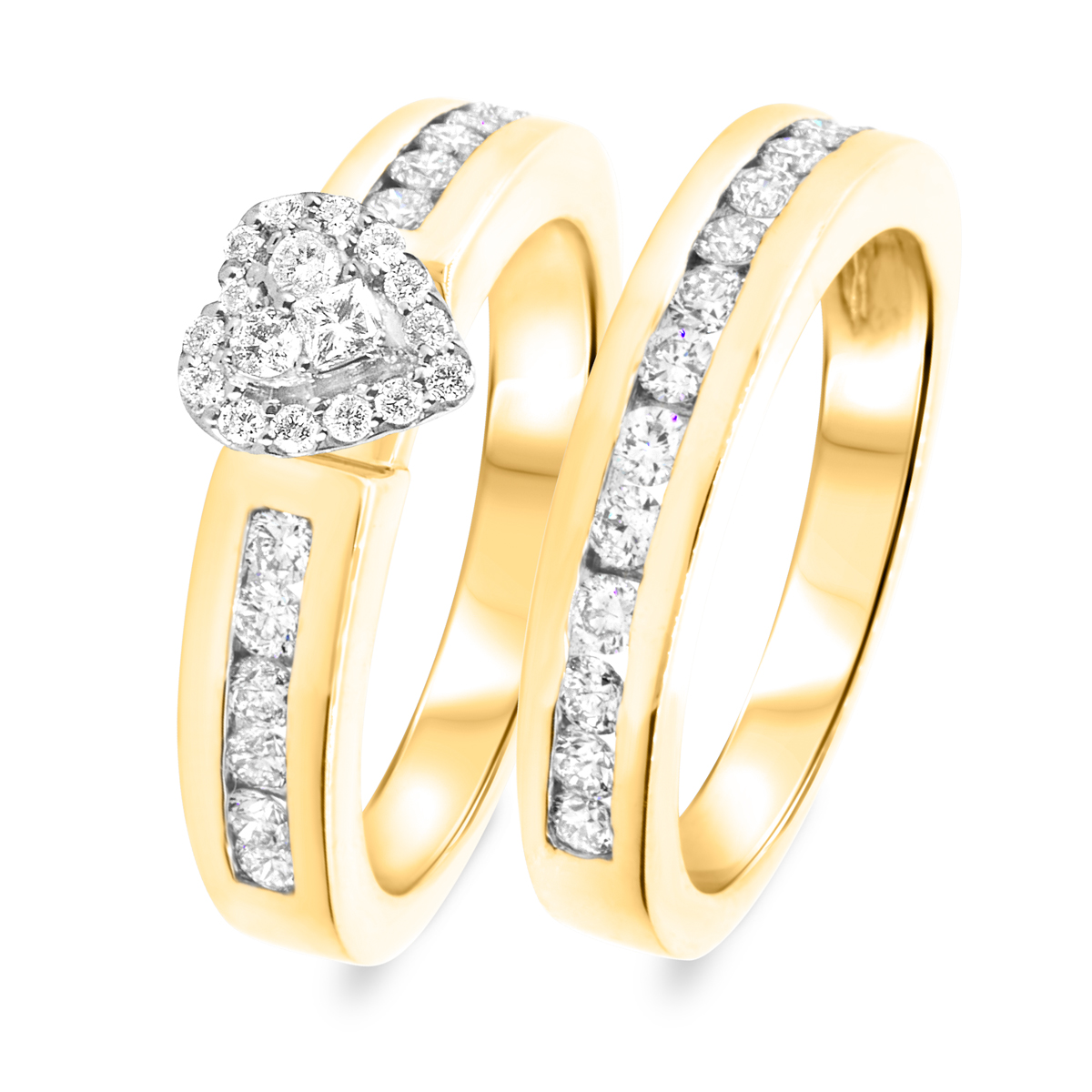 1 1/7 CT. T.W. Diamond Women's Bridal Wedding Ring Set 10K Yellow Gold