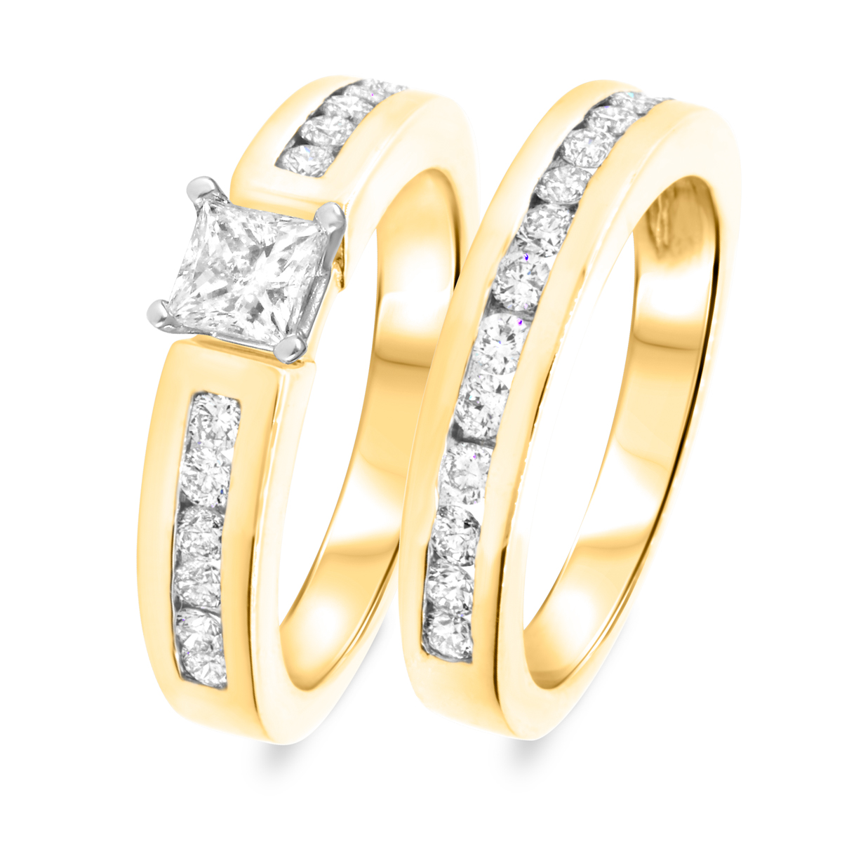1 3/8 CT. T.W. Diamond Women's Bridal Wedding Ring Set 10K Yellow Gold