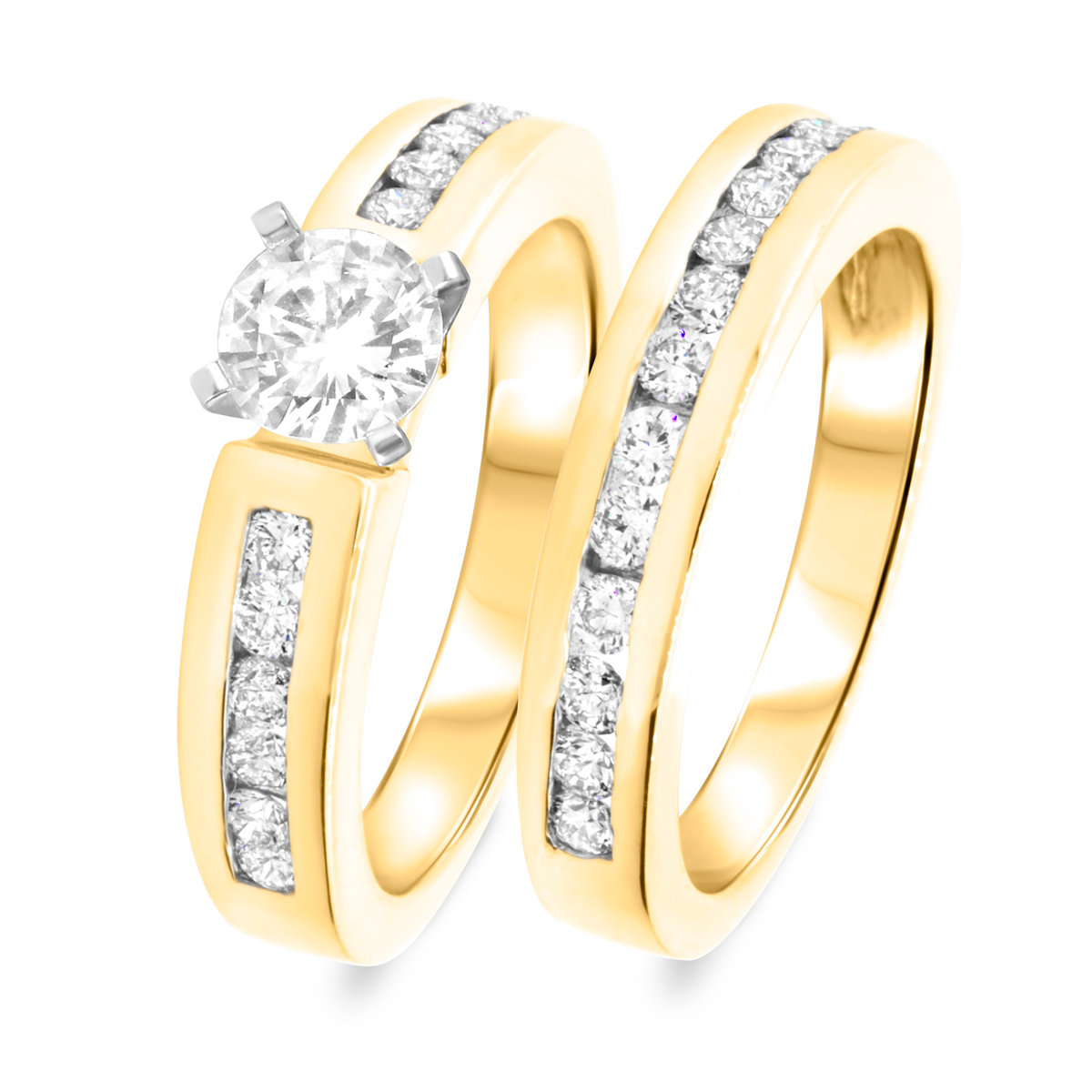 1 2/3 CT. T.W. Diamond Women's Bridal Wedding Ring Set 10K Yellow Gold