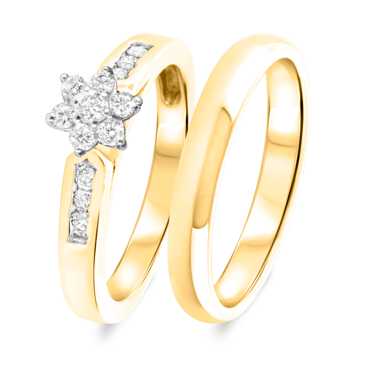 1/2 CT. T.W. Diamond Women's Bridal Wedding Ring Set 14K Yellow Gold