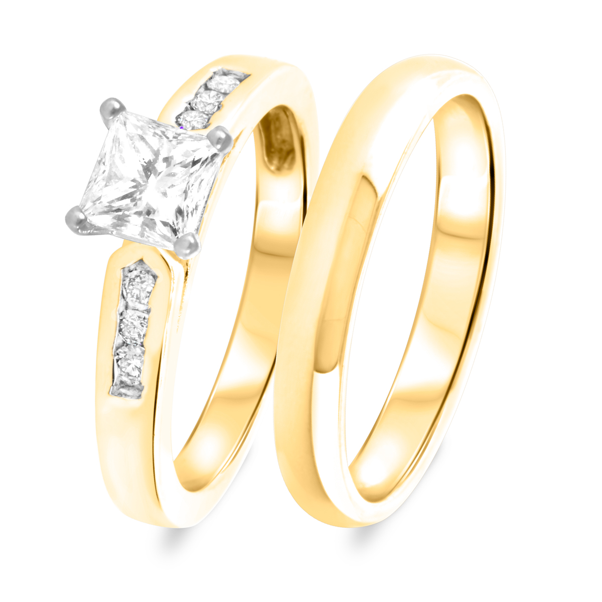 1 1/4 CT. T.W. Diamond Women's Bridal Wedding Ring Set 14K Yellow Gold