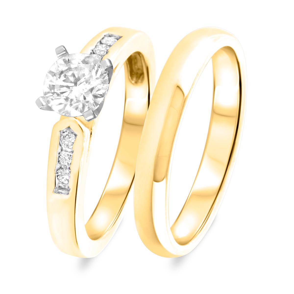 1 1/4 CT. T.W. Diamond Women's Bridal Wedding Ring Set 14K Yellow Gold