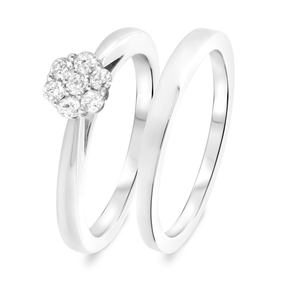 1/3 CT. T.W. Diamond Women's Bridal Wedding Ring Set 10K White Gold