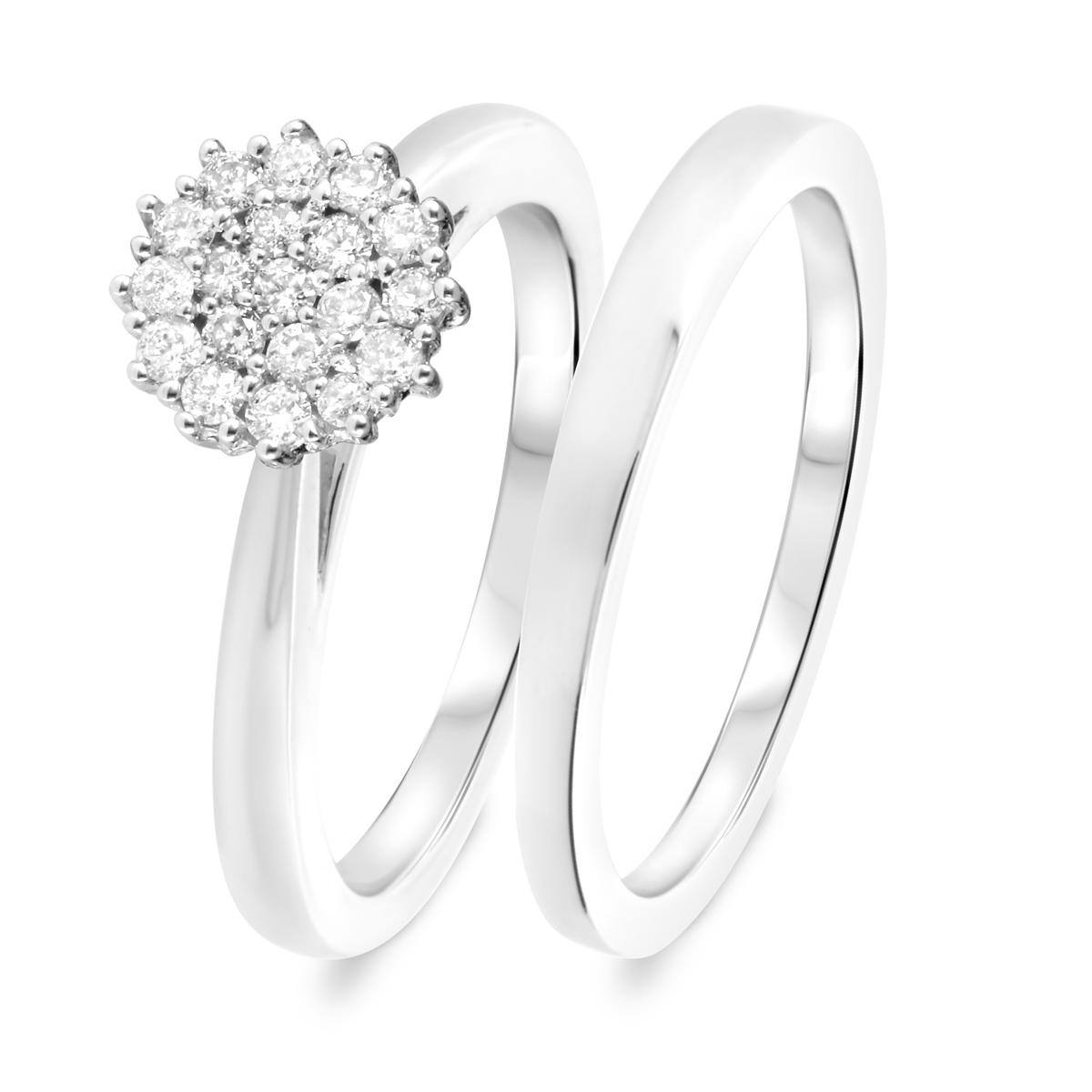 1/2 CT. T.W. Diamond Women's Bridal Wedding Ring Set 10K White Gold