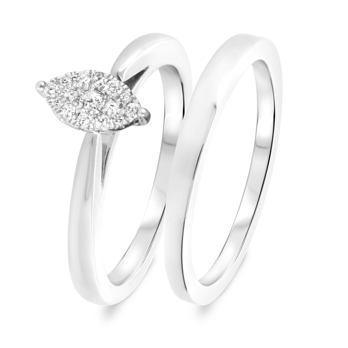 1/5 CT. T.W. Diamond Women's Bridal Wedding Ring Set 10K White Gold