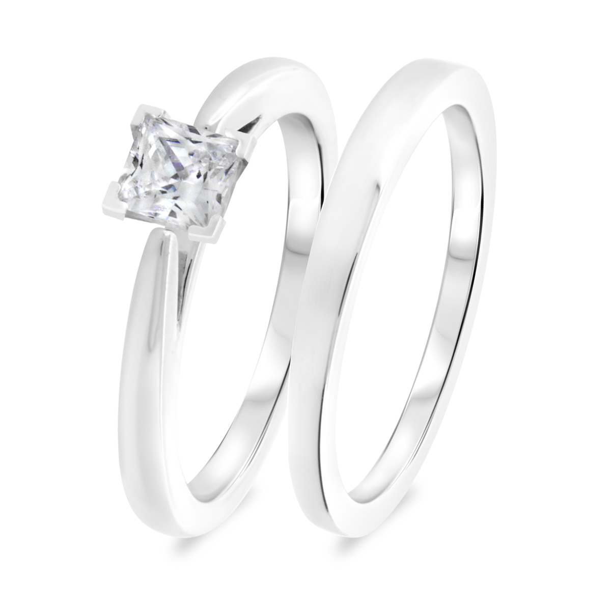 1 CT. T.W. Diamond Women's Bridal Wedding Ring Set 14K White Gold