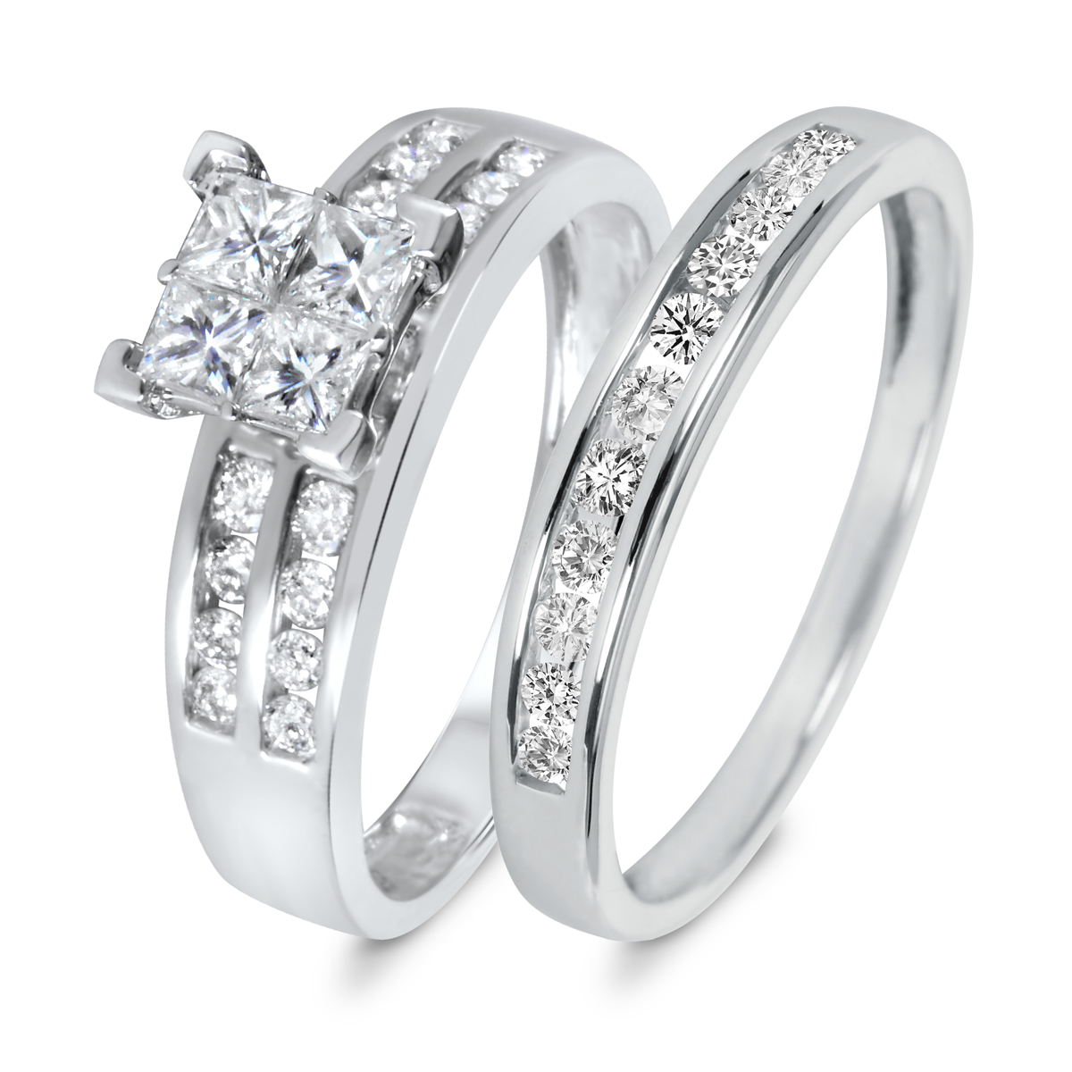 1 1/10 CT. T.W. Diamond Women's Bridal Wedding Ring Set 10K White Gold