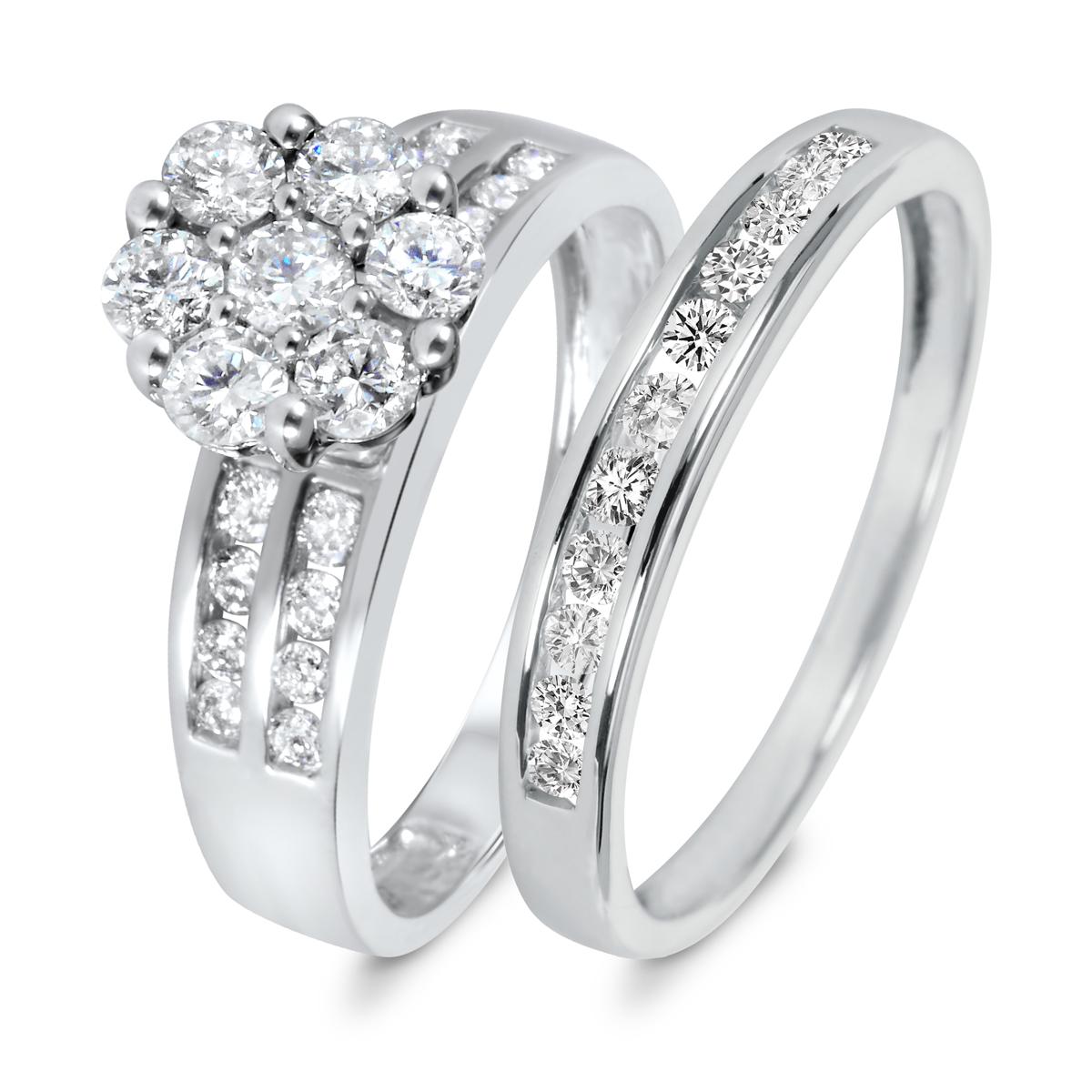 1 1/5 CT. T.W. Diamond Women's Bridal Wedding Ring Set 10K White Gold
