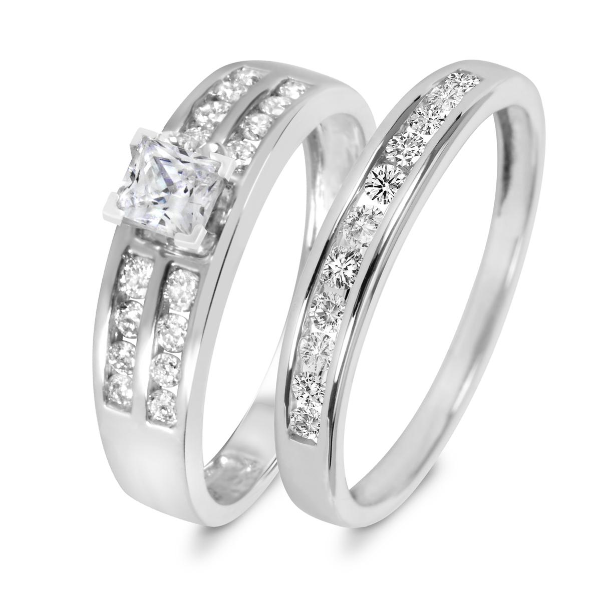 7/8 CT. T.W. Diamond Women's Bridal Wedding Ring Set 14K White Gold