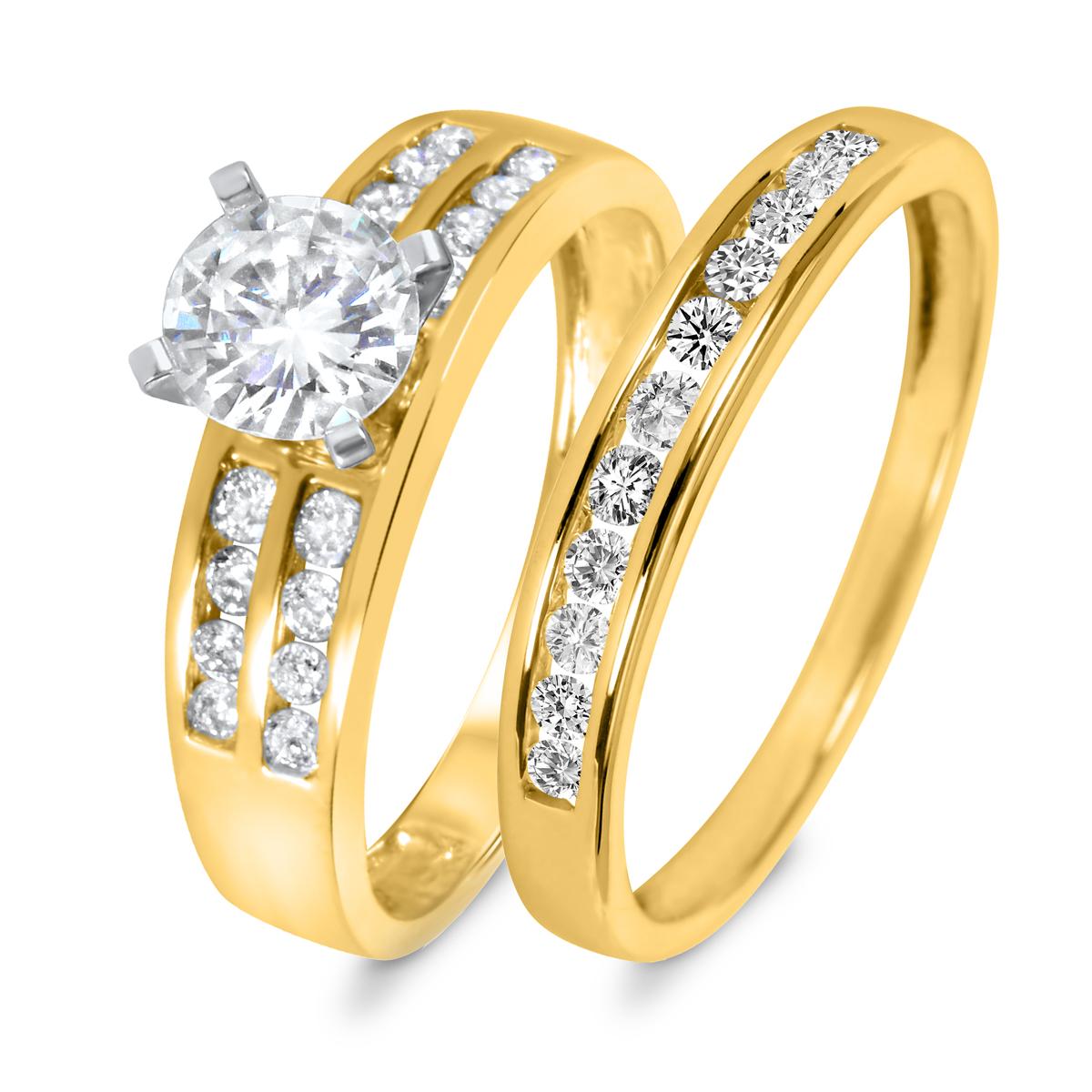 1 1/3 CT. T.W. Diamond Women's Bridal Wedding Ring Set 14K Yellow Gold