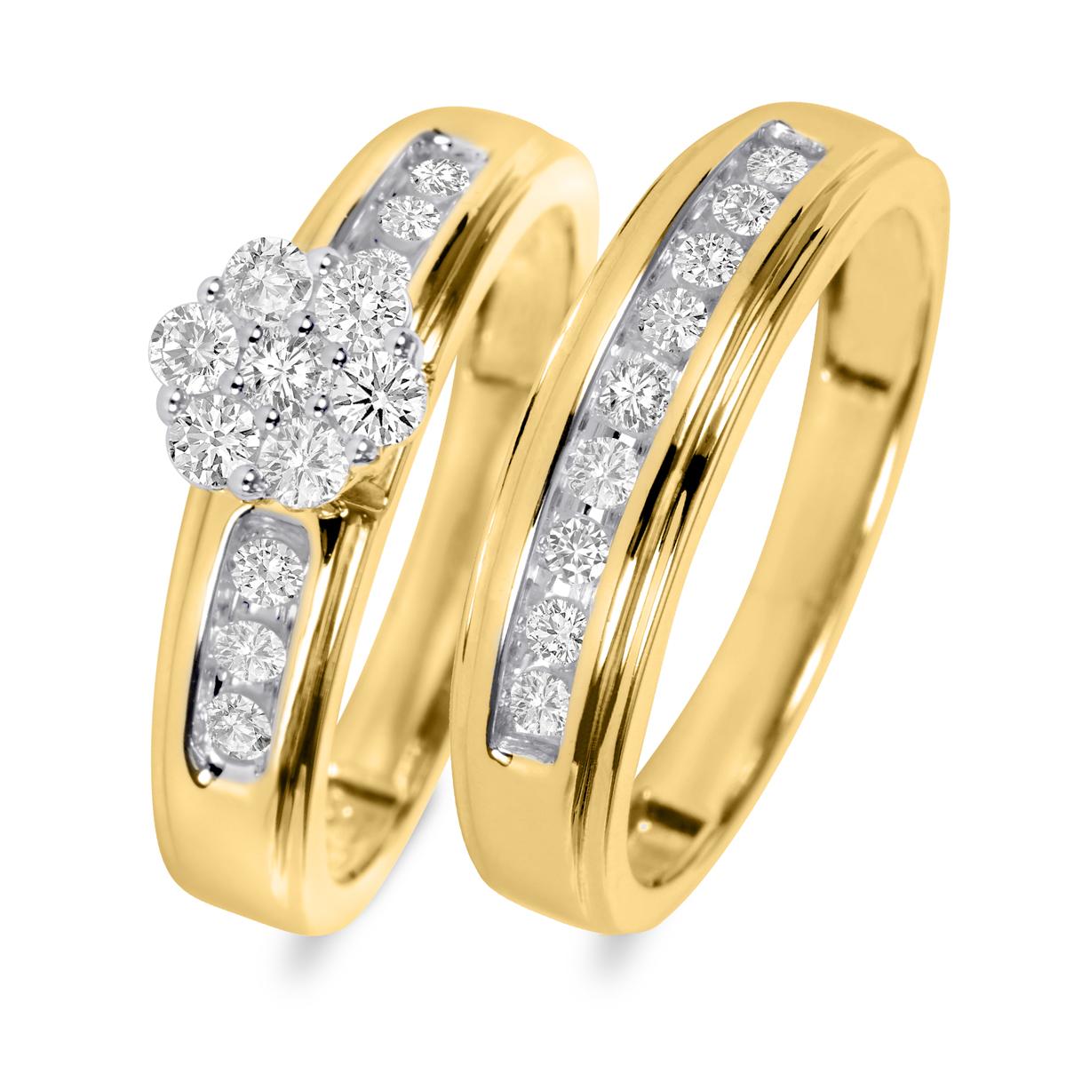 5/8 Carat T.W. Round Cut Diamond Ladies Bridal Wedding Ring Set 14K Yellow Gold