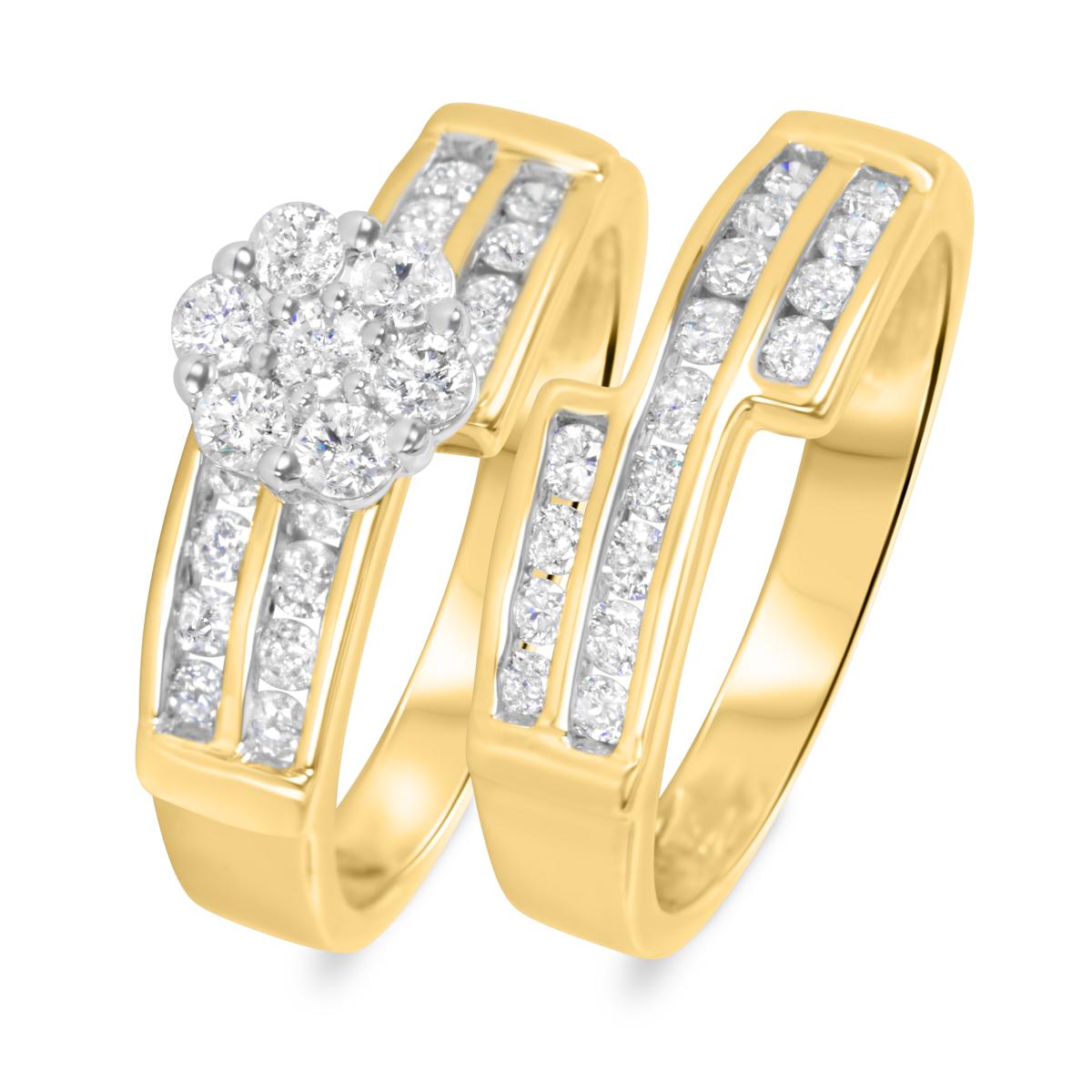 1 1/10 CT. T.W. Round Cut Diamond Ladies Bridal Wedding Ring Set 10K Yellow Gold