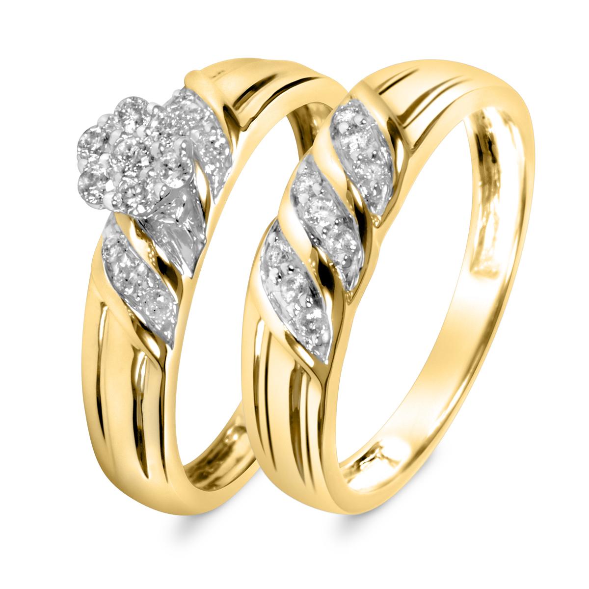 1/3 Carat T.W. Round Cut Diamond Ladies Bridal Wedding Ring Set 14K Yellow Gold