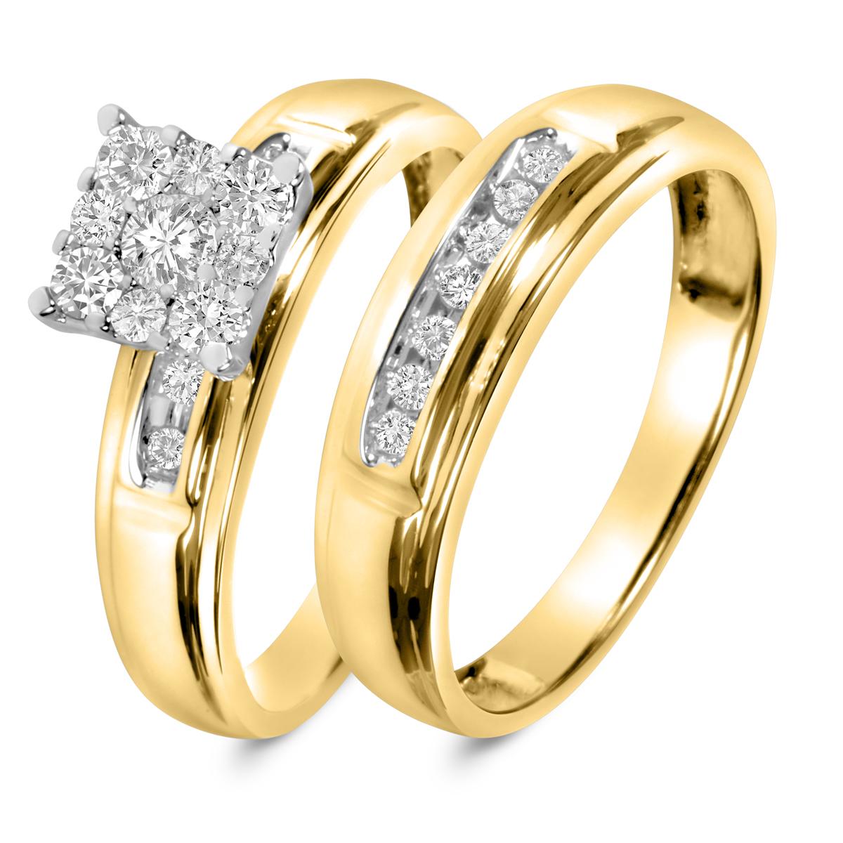 1/2 CT. T.W. Round Cut Diamond Ladies Bridal Wedding Ring Set 10K Yellow Gold