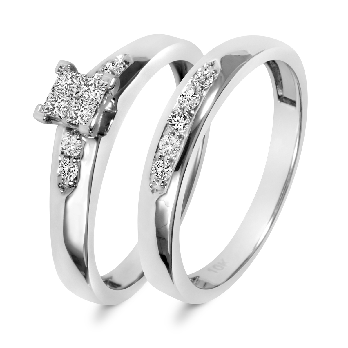 1/3 Carat T.W. Princess, Round Cut Diamond Ladies Bridal Wedding Ring Set 10K