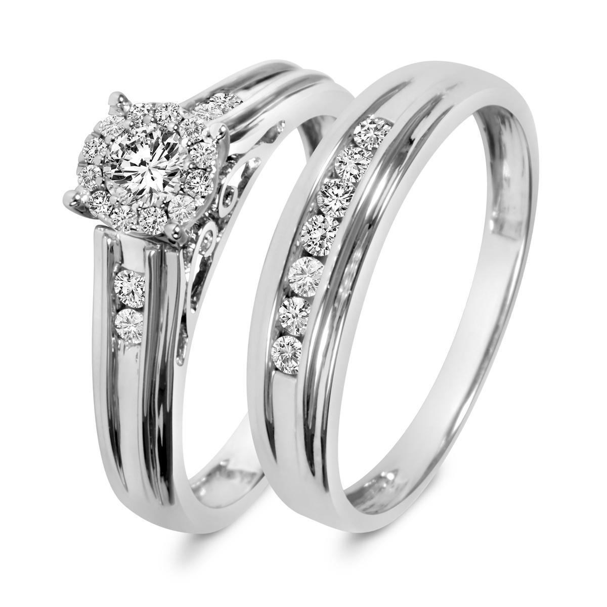 1/2 Carat T.W. Round Cut Diamond Ladies Bridal Wedding Ring Set 10K White Gold