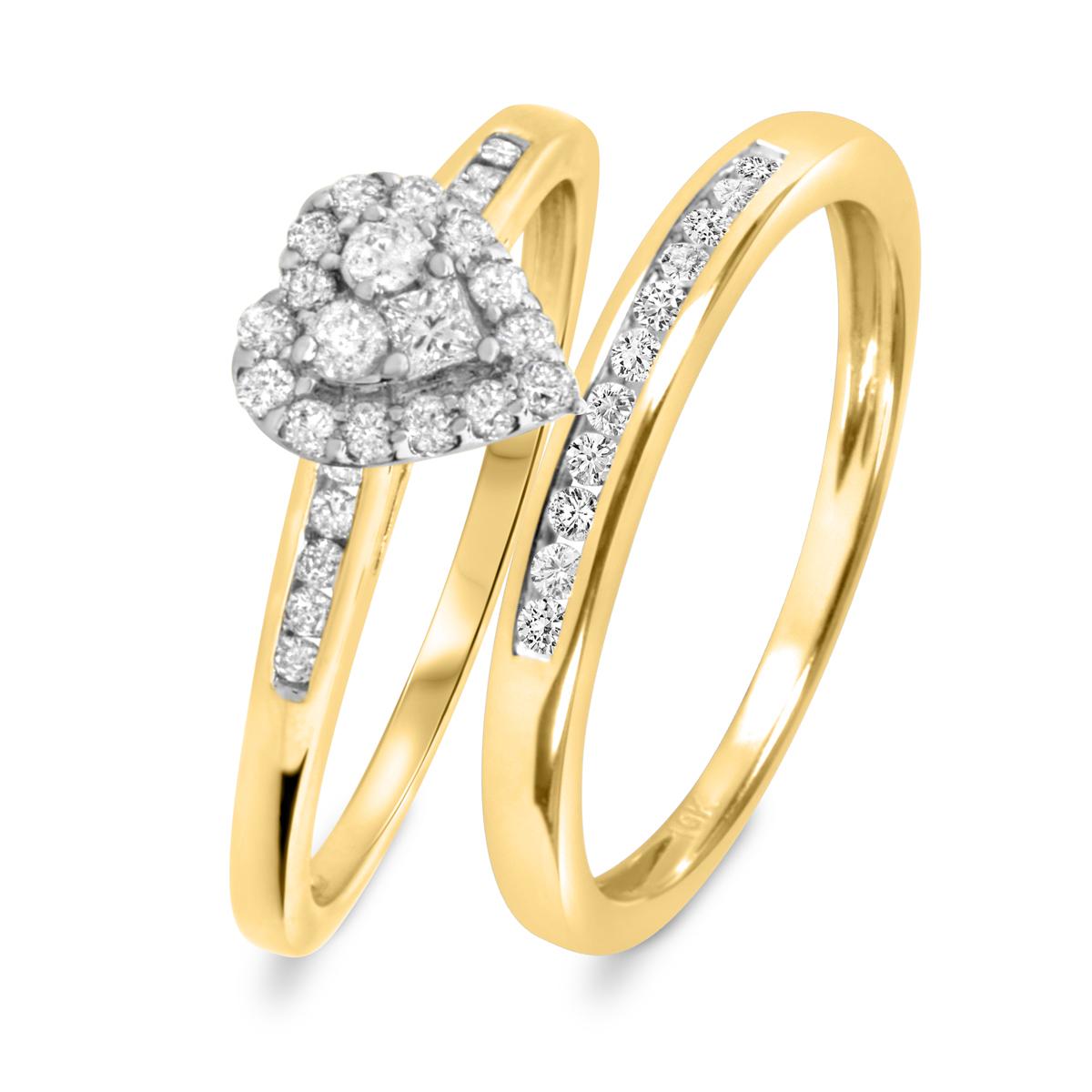 1/2 Carat T.W. Round Cut Diamond Ladies Bridal Wedding Ring Set 10K Yellow Gold