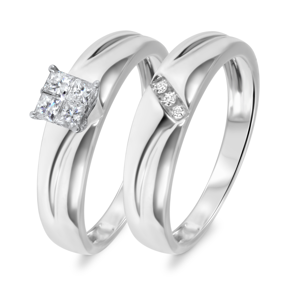 1/4 CT. T.W. Diamond Women's Bridal Wedding Ring Set 10K White Gold