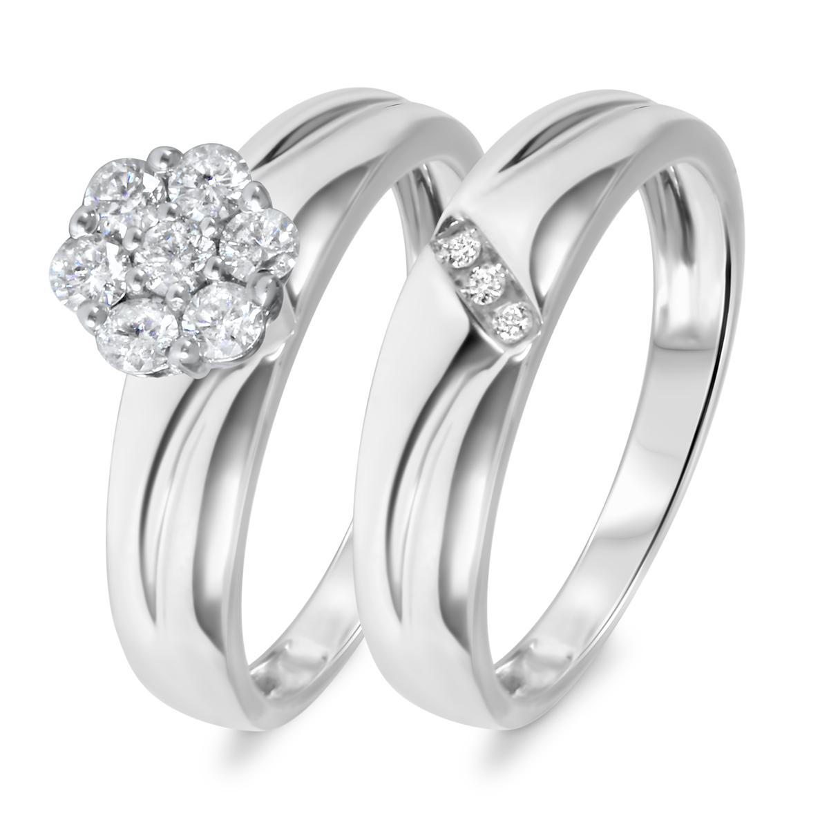 3/8 CT. T.W. Diamond Women's Bridal Wedding Ring Set 10K White Gold