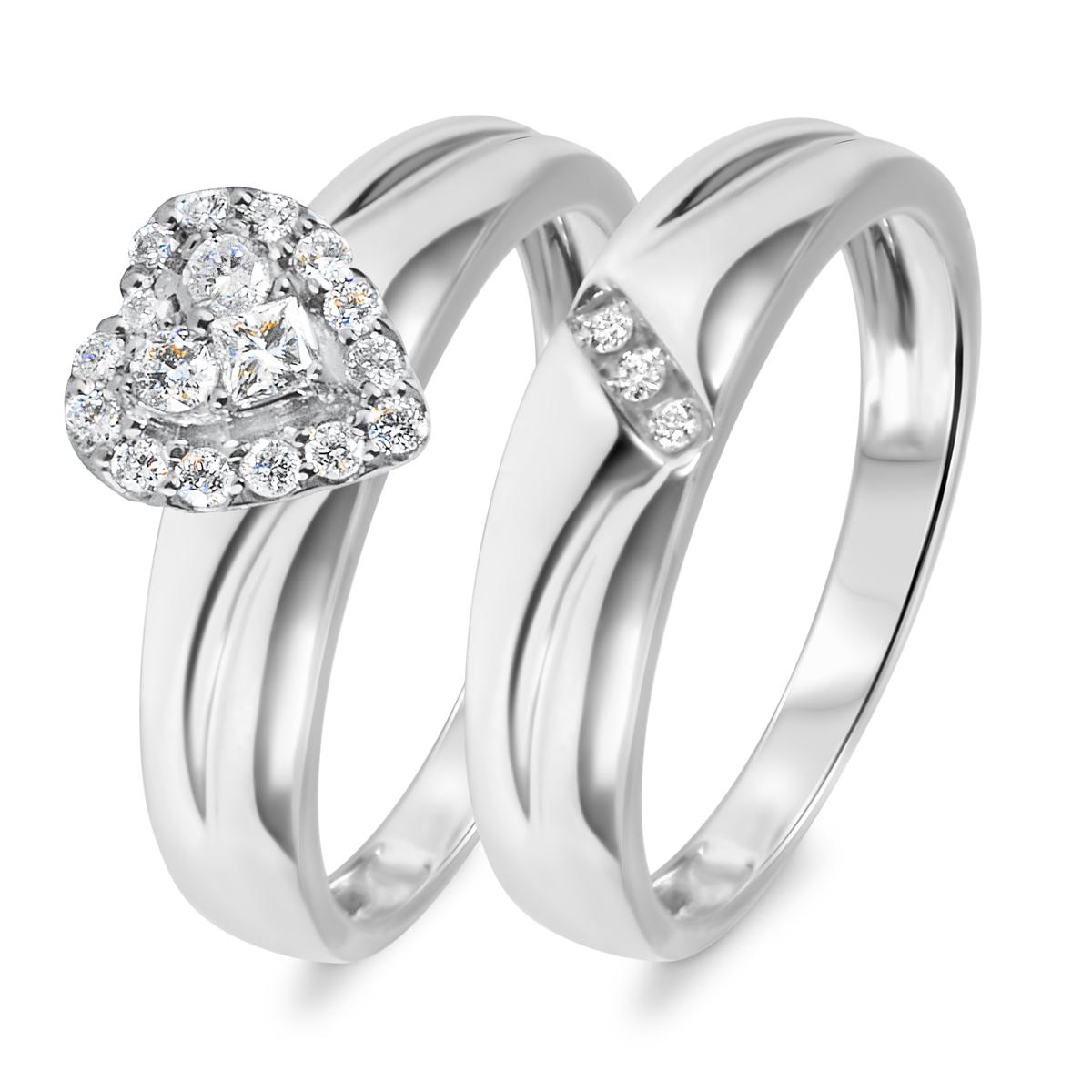 1/3 CT. T.W. Diamond Women's Bridal Wedding Ring Set 14K White Gold