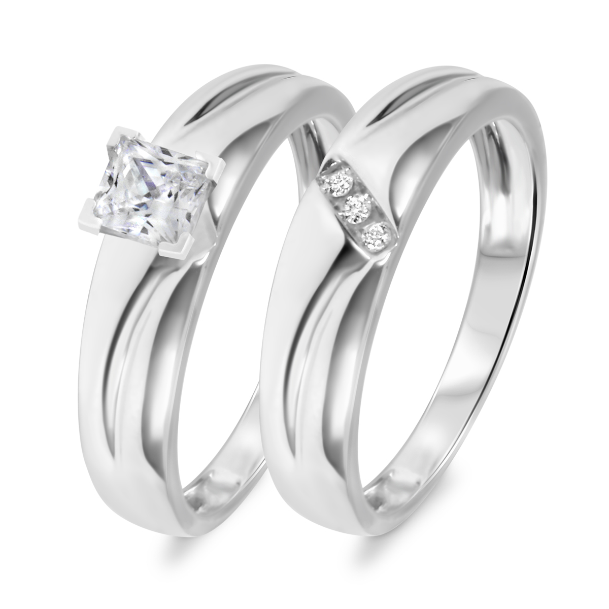 1/3 CT. T.W. Diamond Women's Bridal Wedding Ring Set 10K White Gold
