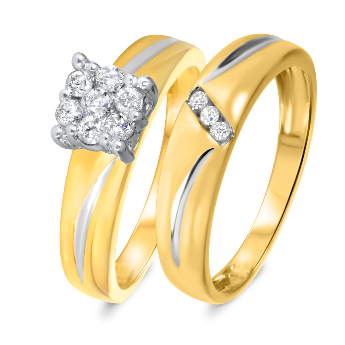 1/4 CT. T.W. Diamond Women's Bridal Wedding Ring Set 10K Yellow Gold
