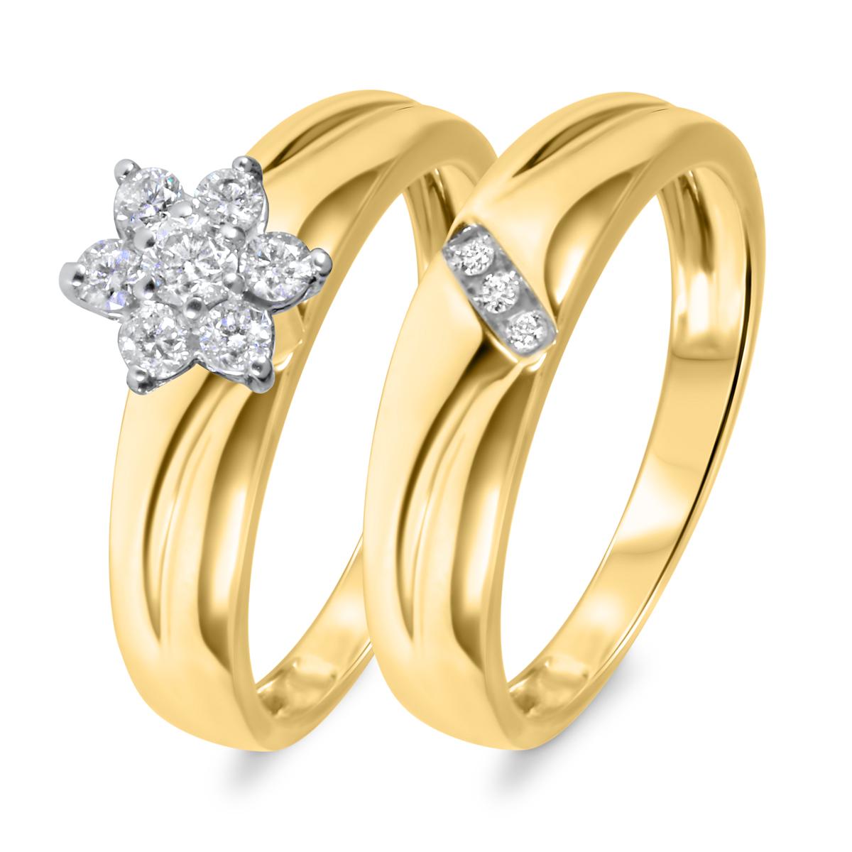 1/4 CT. T.W. Diamond Women's Bridal Wedding Ring Set 14K Yellow Gold