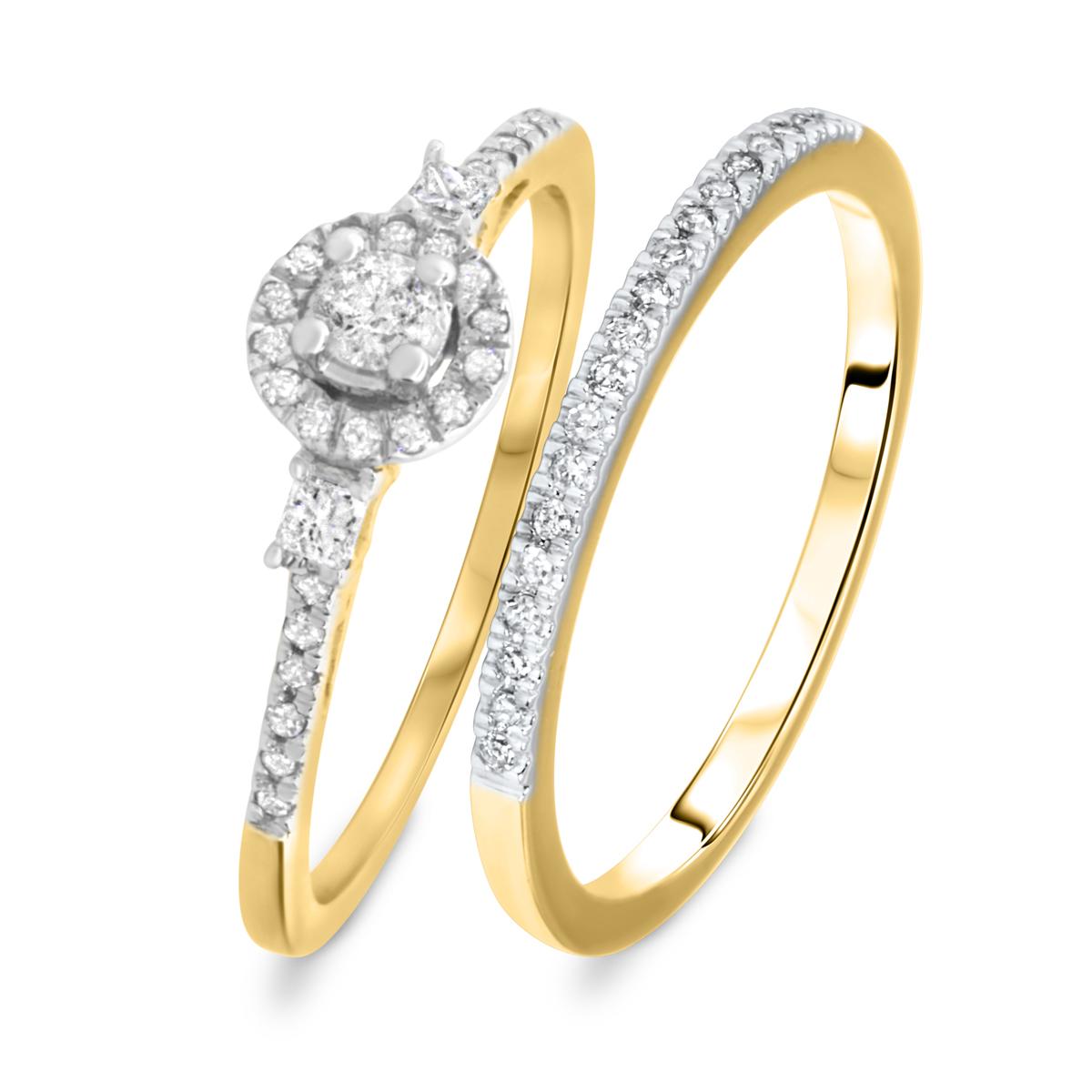 1/3 CT. T.W. Round Cut Diamond Ladies Bridal Wedding Ring Set 10K Yellow Gold