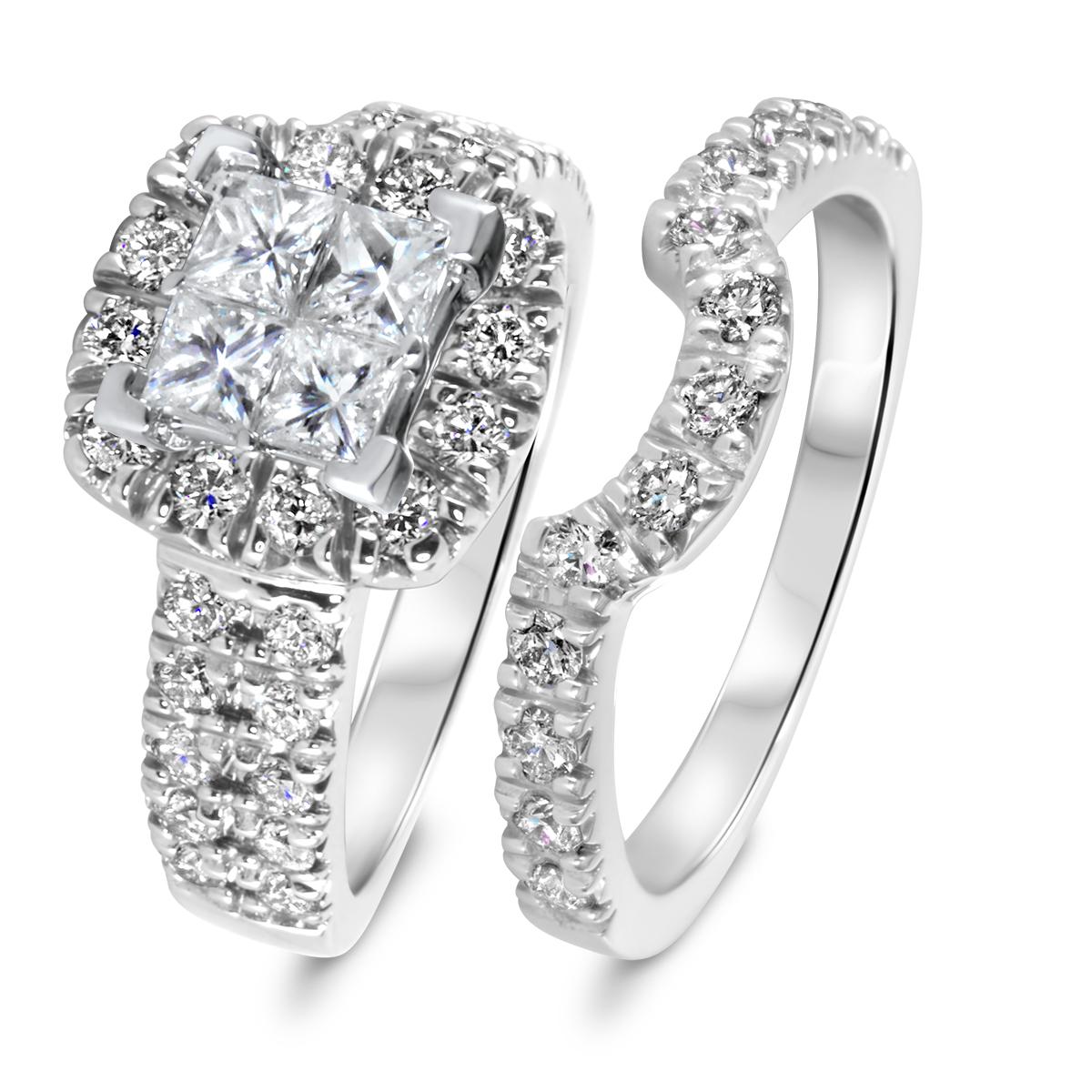 2 CT. T.W. Diamond Women's Bridal Wedding Ring Set 10K White Gold