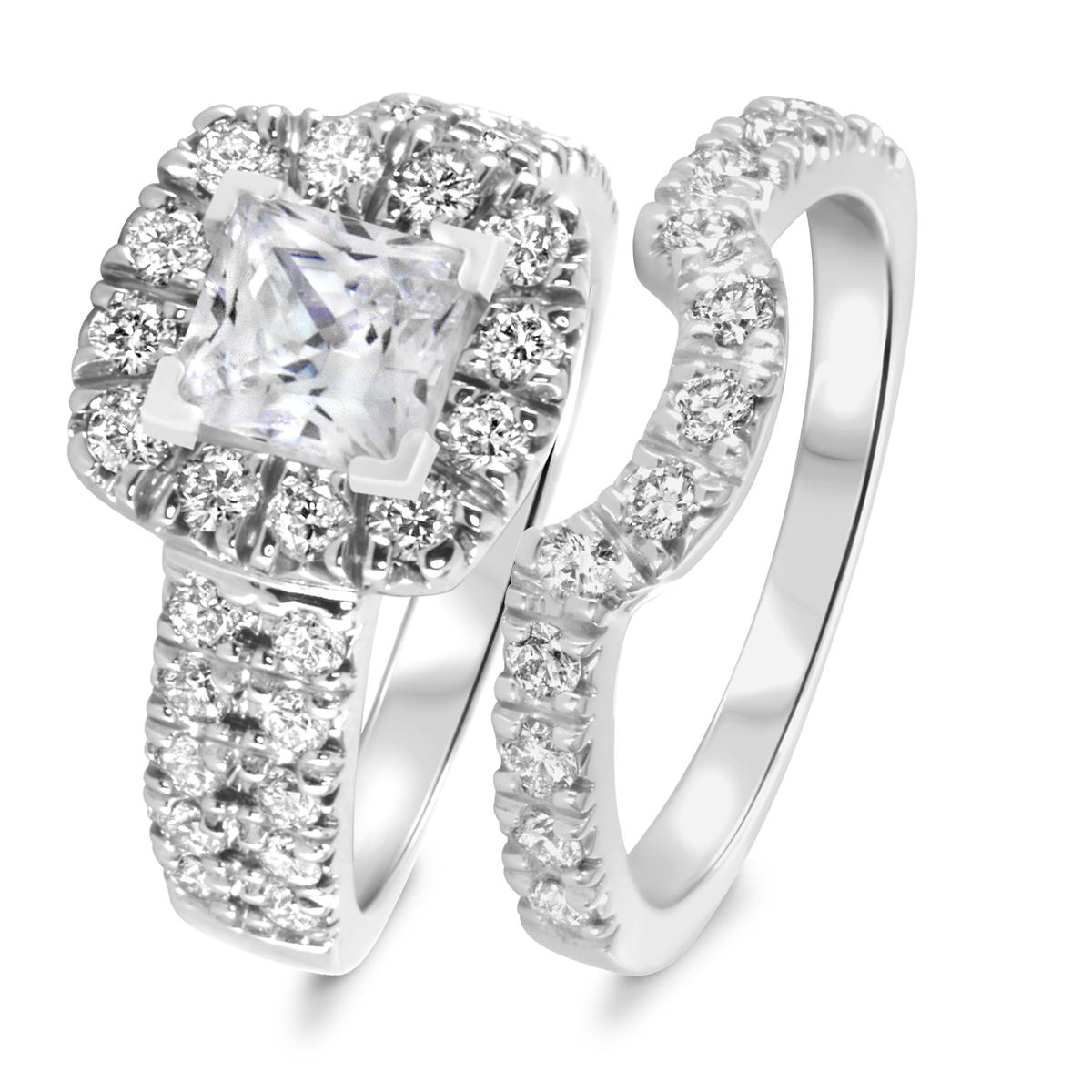2 1/2 CT. T.W. Diamond Women's Bridal Wedding Ring Set 10K White Gold