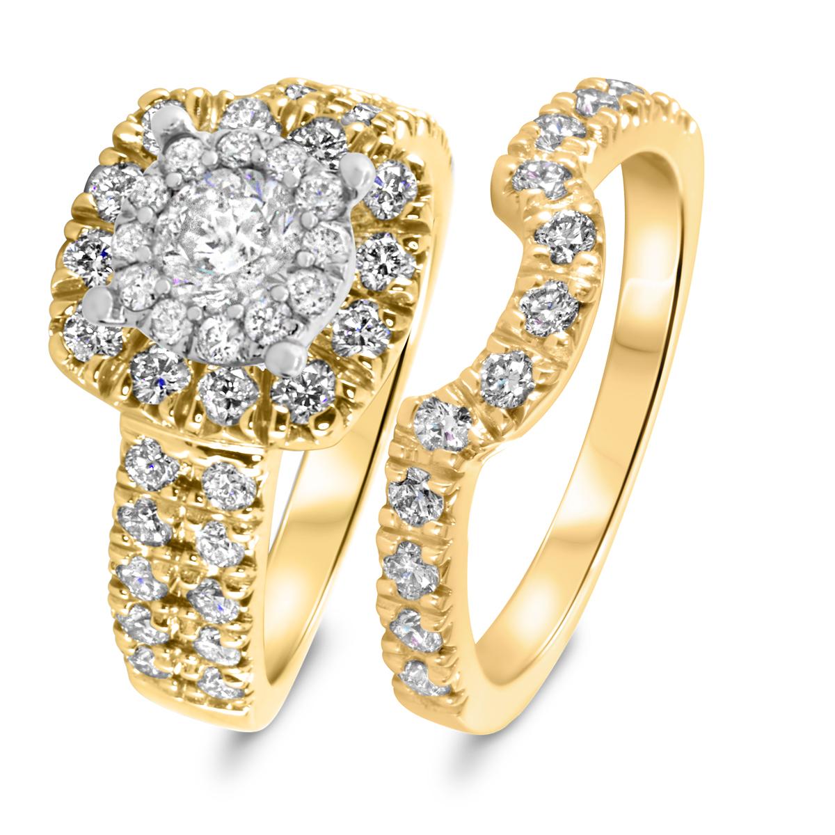 1 7/8 CT. T.W. Diamond Women's Bridal Wedding Ring Set 10K Yellow Gold