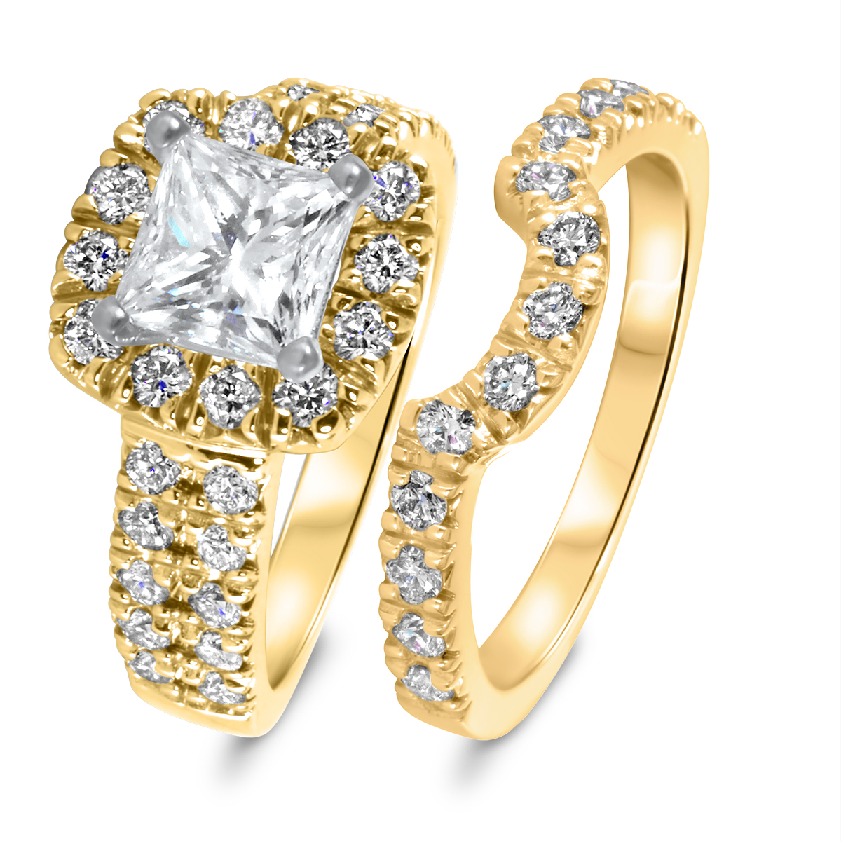 2 1/2 CT. T.W. Diamond Women's Bridal Wedding Ring Set 10K Yellow Gold