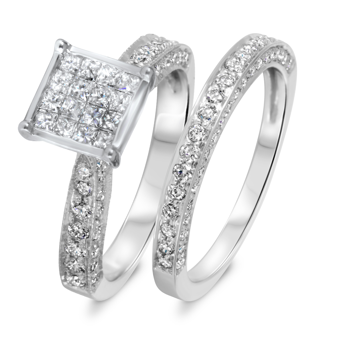 1 1/3 CT. T.W. Diamond Women's Bridal Wedding Ring Set 10K White Gold