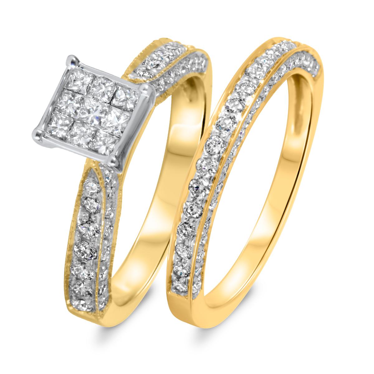 1 1/5 CT. T.W. Diamond Women's Bridal Wedding Ring Set 10K Yellow Gold