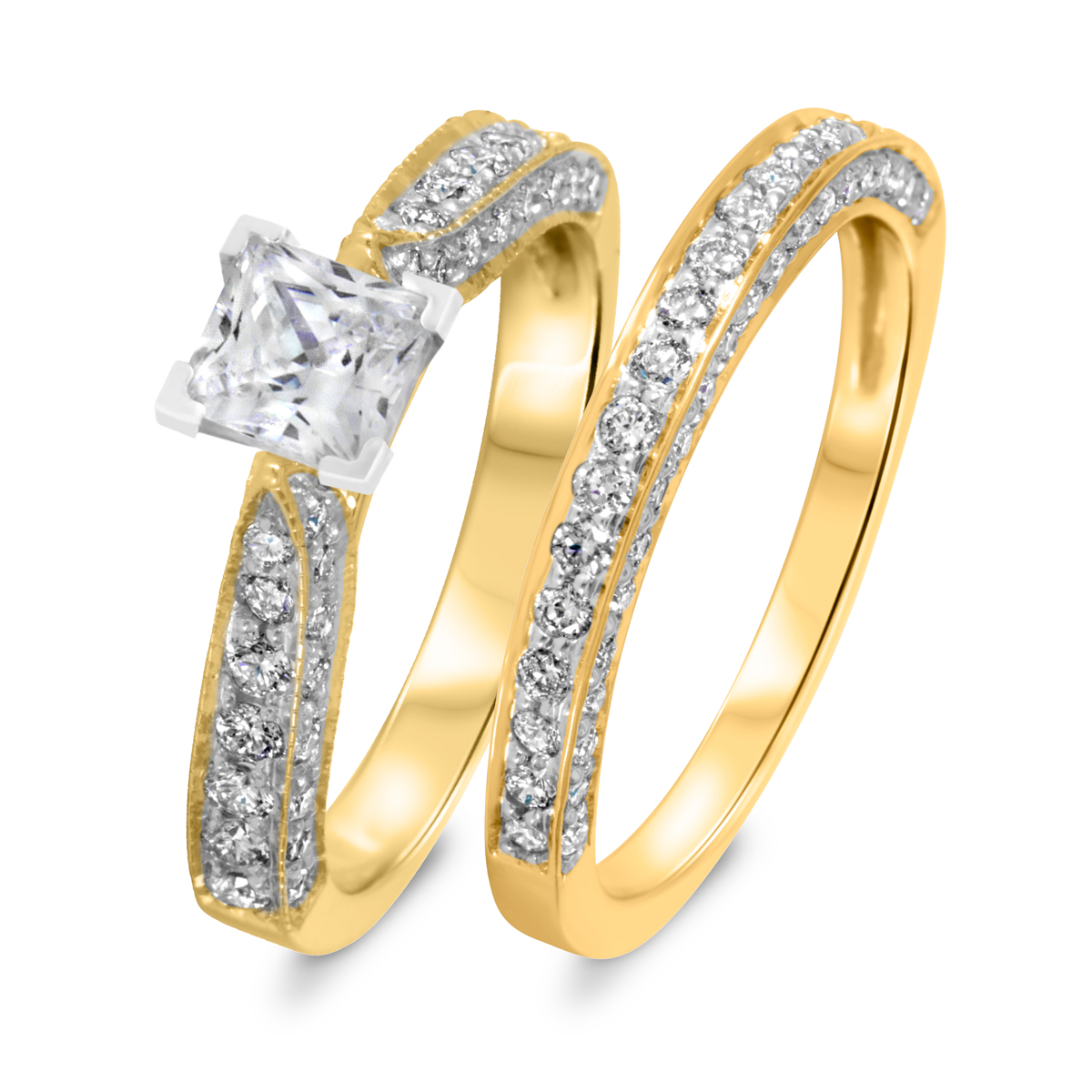 1 2/3 CT. T.W. Diamond Women's Bridal Wedding Ring Set 10K Yellow Gold
