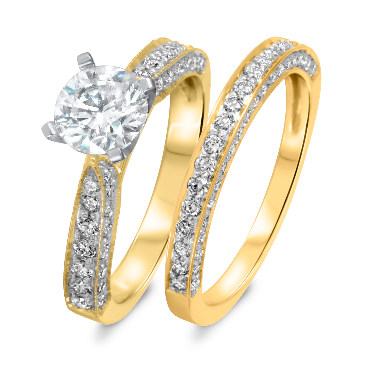 1 7/8 CT. T.W. Diamond Women's Bridal Wedding Ring Set 10K Yellow Gold
