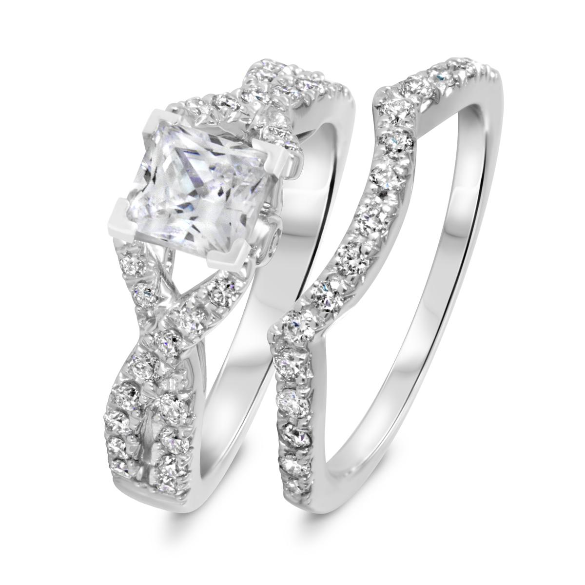 1 3/4 CT. T.W. Diamond Women's Bridal Wedding Ring Set 10K White Gold