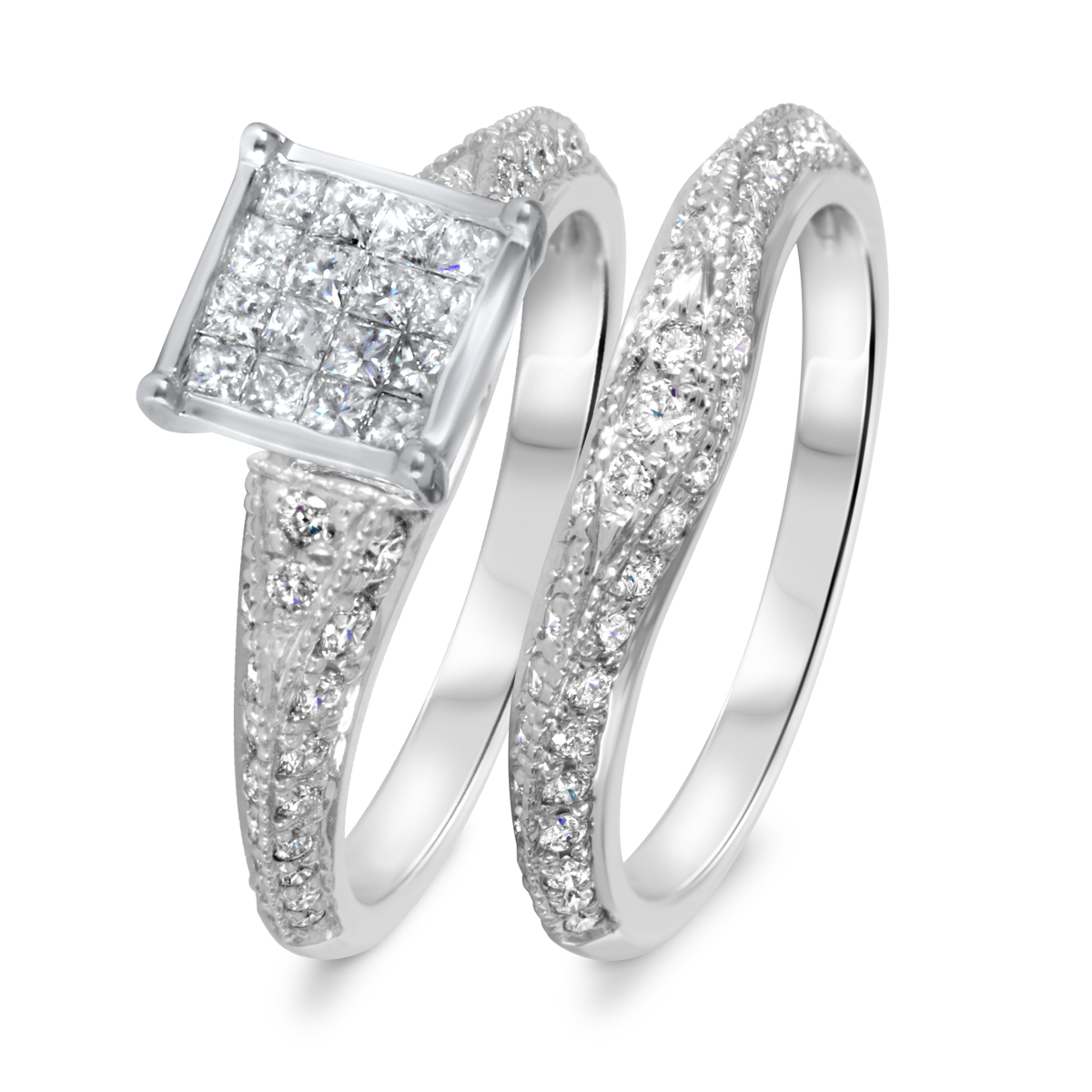 1 1/4 CT. T.W. Diamond Women's Bridal Wedding Ring Set 10K White Gold