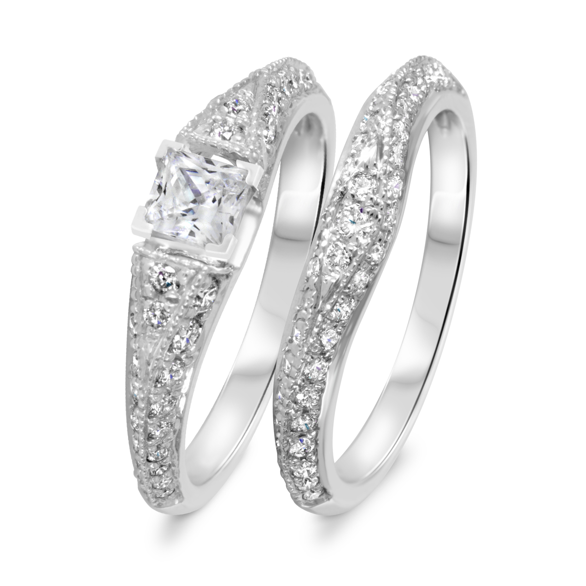 1 1/6 CT. T.W. Diamond Women's Bridal Wedding Ring Set 10K White Gold