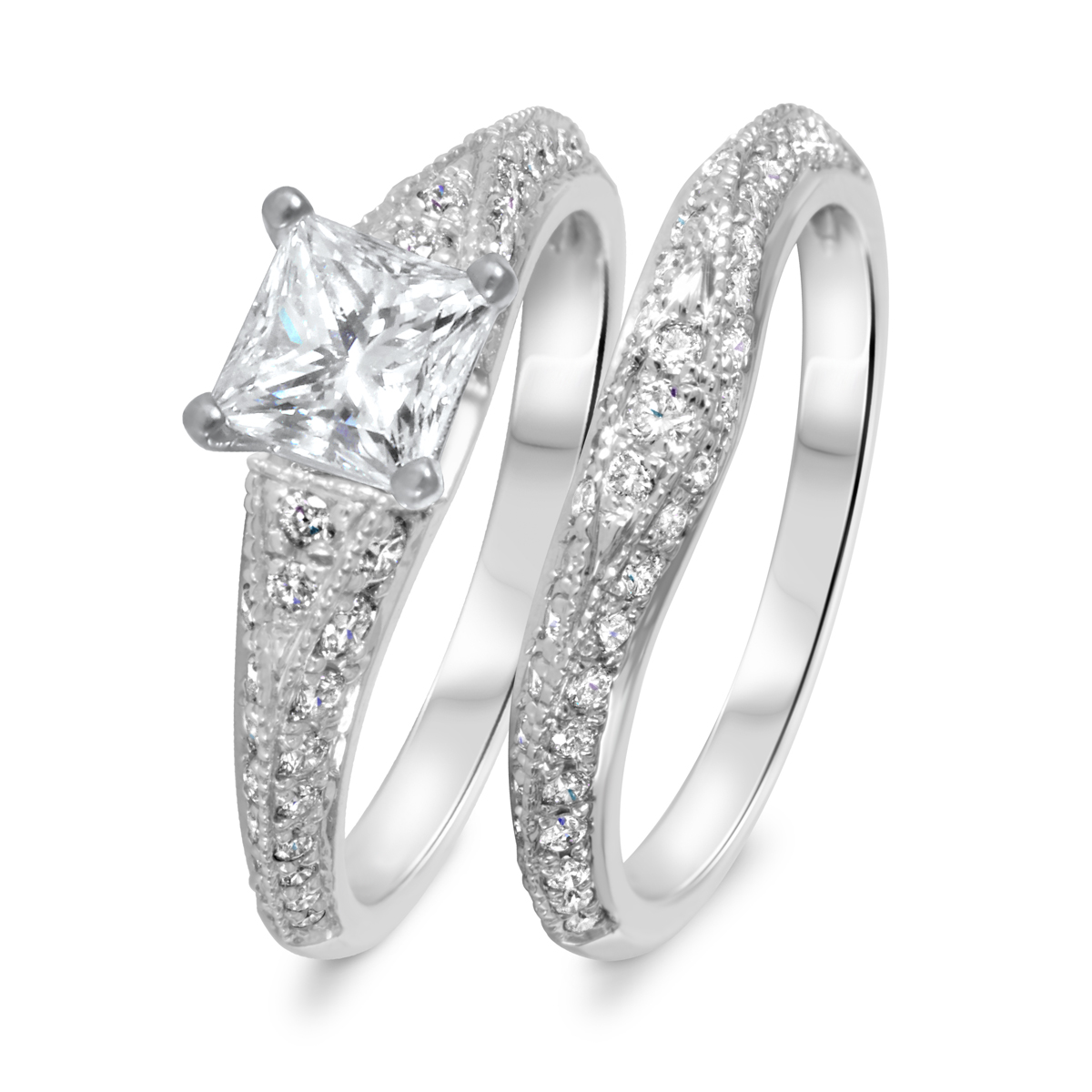 1 7/8 CT. T.W. Diamond Women's Bridal Wedding Ring Set 10K White Gold