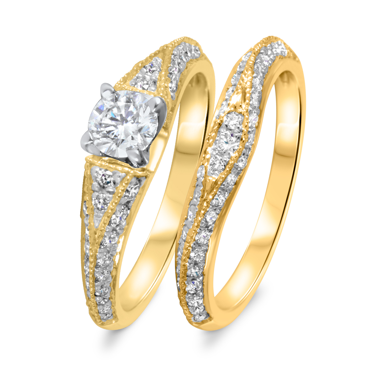 1 1/6 CT. T.W. Diamond Women's Bridal Wedding Ring Set 10K Yellow Gold
