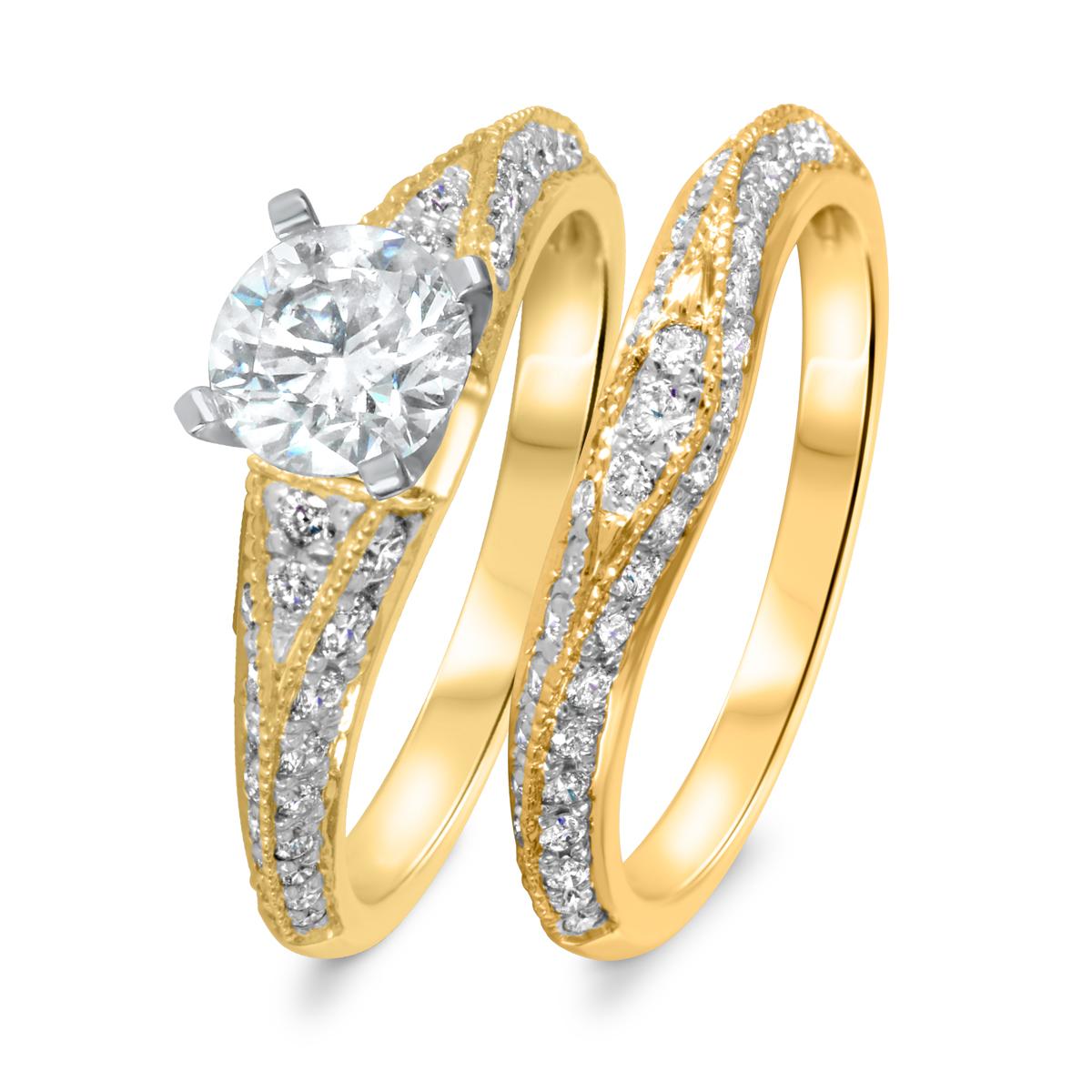 1 7/8 CT. T.W. Diamond Women's Bridal Wedding Ring Set 14K Yellow Gold
